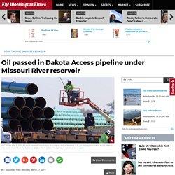 Oil flowing in Dakota Access pipeline under Missouri River reservoir