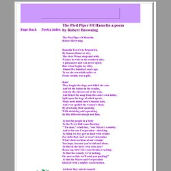The Pied Piper Of Hamelin a poem by Robert Browning