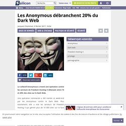 Piratage : les Anonymous débranchent 20% du Dark Web