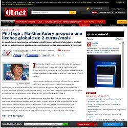 Piratage : Martine Aubry propose une licence globale de 2€/mois
