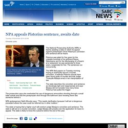 NPA appeals Pistorius sentence, awaits date:Tuesday 4 November 2014