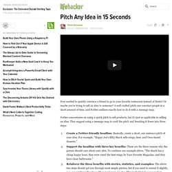 Pitch Any Idea in 15 Seconds