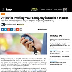 7 Tips for Pitching Your Company in Under a Minute