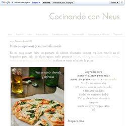 Pizza de espinacas y salmón ahumado