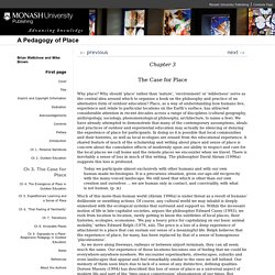 'Ch 3. The Case for Place' in A Pedagogy of Place by Brian Wattchow and Mike Brown