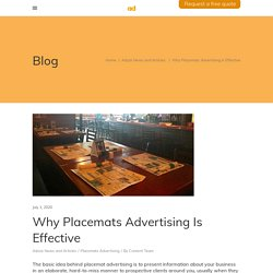 Why Placemats Advertising Is Effective