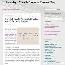 How I Got My Job: Placement at Bradford Institute for Health Research