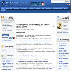 Free Biography, Autobiography and Memoir Books Online