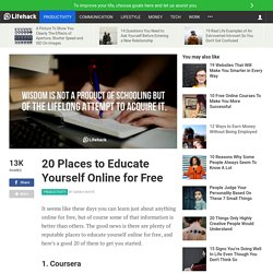 20 Places to Educate Yourself Online for Free