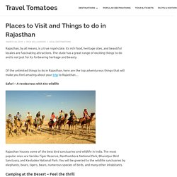 Places to Visit and Things to do in Rajasthan