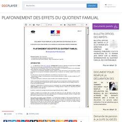 PLAFONNEMENT DES EFFETS DU QUOTIENT FAMILIAL - PDF