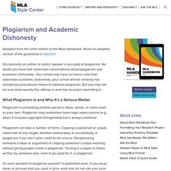 Plagiarism and Academic Dishonesty - The MLA Style Center