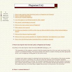 Plagiarism FAQ