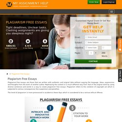 Plagiarism Free Essays .