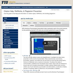 APA - Citation Help, RefWorks, & Plagiarism Prevention - FIU Libraries: Research at Florida International University