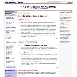 Avoiding Plagiarism: Quoting and Paraphrasing