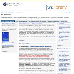 Citing Sources & Plagiarism - APA Style Guide - JWU Providence Library at Johnson & Wales University-Providence Campus