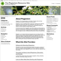 The Plagiarism Resource Site « Welcome