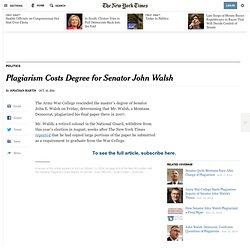 Plagiarism Costs Degree for Senator John Walsh