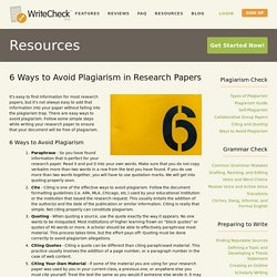 Ways to Avoid Plagiarism — Plagiarism Checker