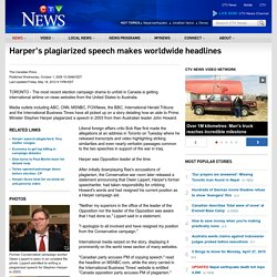 Harper's plagiarized speech makes worldwide headlines