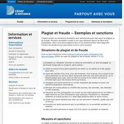 Plagiat et fraude - Exemples et sanctions