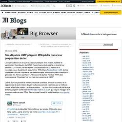 Des députés UMP plagient Wikipédia dans leur proposition de loi