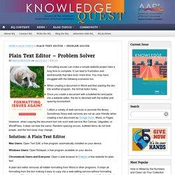 Plain Text Editor - Knowlege Quest Blog