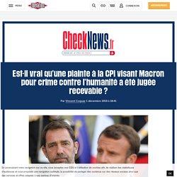 Est-il vrai qu'une plainte à la CPI visant Macron pour crime contre l'humanité a été jugée recevable?