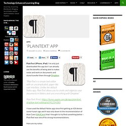 'PlainText' App – Technology Enhanced Learning Blog