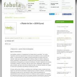 « Plaisir de lire » (ENS Lyon)