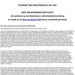 PLAKKAAT VAN VERLATINGHE 1581