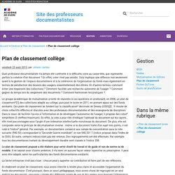 Plan de classement collège