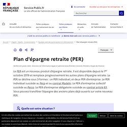 Plan d'épargne retraite (PER)