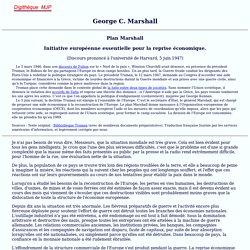 Plan Marshall, 5 juin 1947, discours à Harvard, MJP