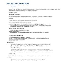 Plan type de protocole de recherche