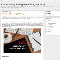 Plan Your Manuscript Writing