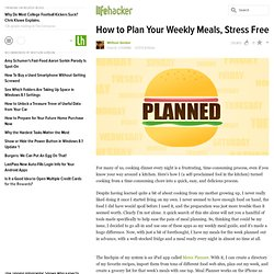 Plan Your Weekly Meals, Stress Free