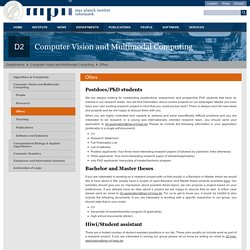 Max-Planck-Institut für Informatik: Offers