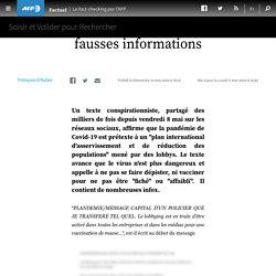 """""""Plandémie"""" : un texte viral contenant de fausses informations"""