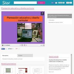 Planeación educativa y diseño curricular