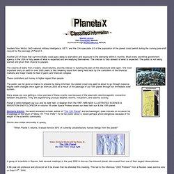 Planet X - informations classifiées