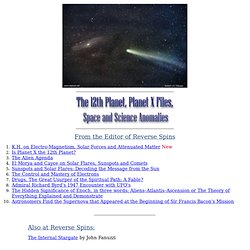 The 12th Planet, Planet X Files, Space and Science Anomalies