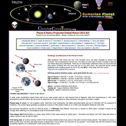 Planet X Nibiru Projected Orbital Return - 2012