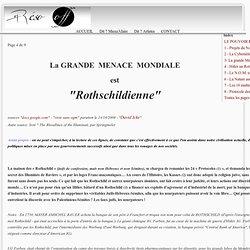 LE POUVOIR PLANETAIRE - 3- La grande Menace Rothschildienne