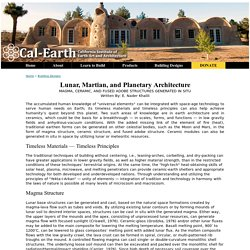 Lunar, Martian and Planetary Architecture - Cal-Earth Building Designs
