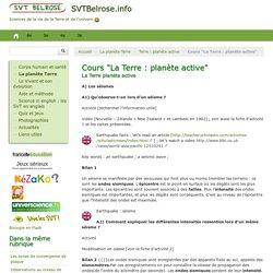 """Cours """"La Terre : planète active"""" - SVTBelrose.info"""