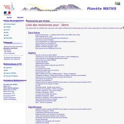 Planète MATHS - Liste des ressources par niveau