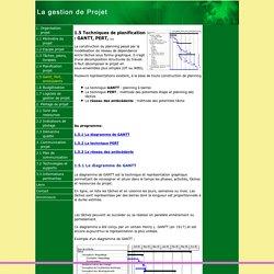 Techniques de planification: GANTT, PERT, réseau des antécédants