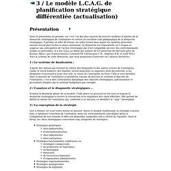 modèle L.C.A.G. de planification stratégique différentiée